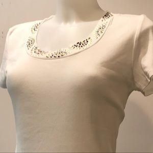 Style&Co metallic embellished white t- shirt